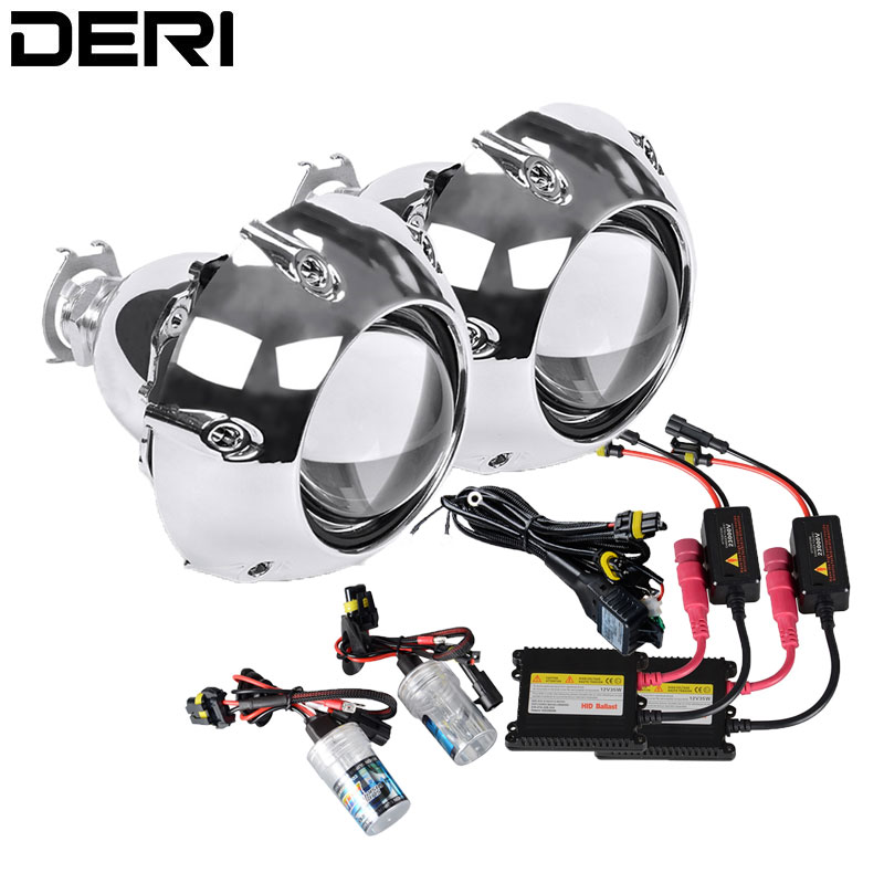 2 5 inch HID Bi xenon Headlight Projector Lens Full Retrofit Car Styling Kit Lenses with