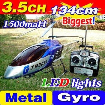 цена Free Shipping 3.5CH Biggest 53' 134CM Large Big Radio Remote Control Electric Gyro Metal RTF RC Helicopter LED G.T. QS8006 8006 онлайн в 2017 году