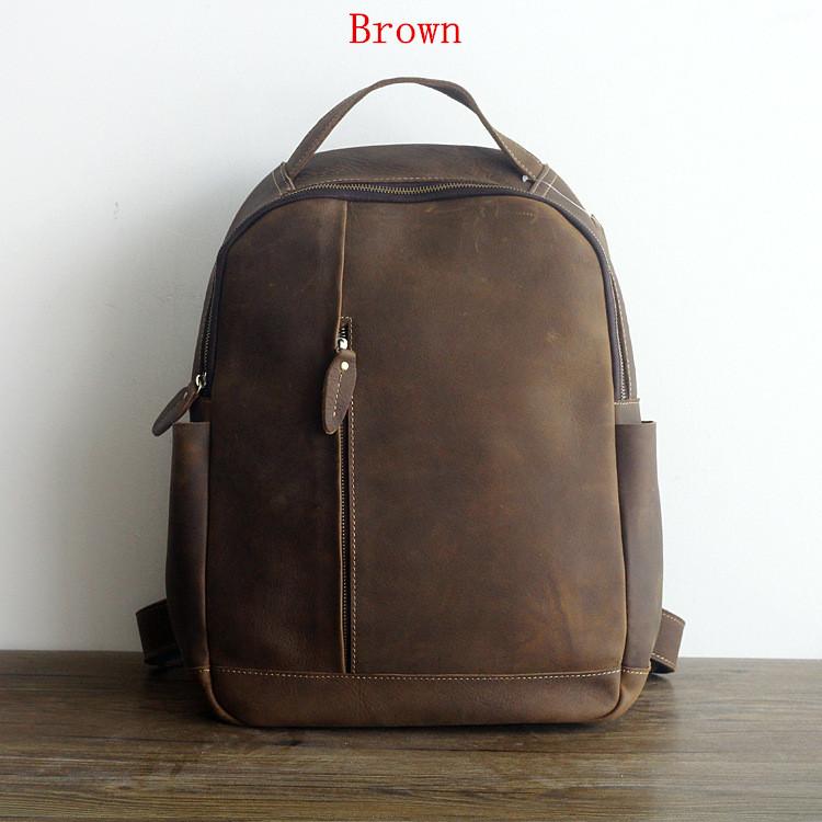Men 100% Genuine Leather Laptop Backpacks Male Vintage Casual Backpacks Men's Travel Holder 14inch 15.6inch Computer School Bags 1