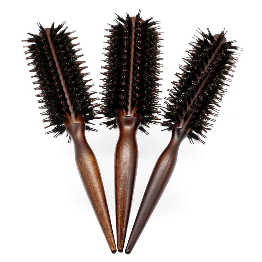 Anti Static Wood Boar Bristle Hair Round Brush Hairdresser Styling Teasing Brush For Hair Curly Comb 3 Sizes To Choose