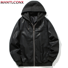 MANTLCONX 2019 Motorcycle Biker Men Leather Jackets Hooded Autumn Coats Male Fashion Classic Pu Jacket Winter