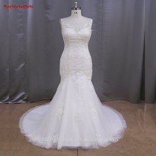 High Quality 2016 Romantic Mermaid Sweetheart Cap Sleeve Lace Up Back Beading Lace Bridal Gown YIYI Wedding Dress WD0361