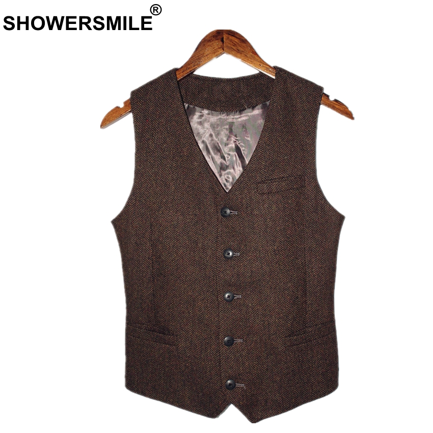 SHOWERSMILE Brown Mens Vest British Vintage Men Herringbone Vest Tweed Jacket Wool Fabric Sleeveless Blazer Brand