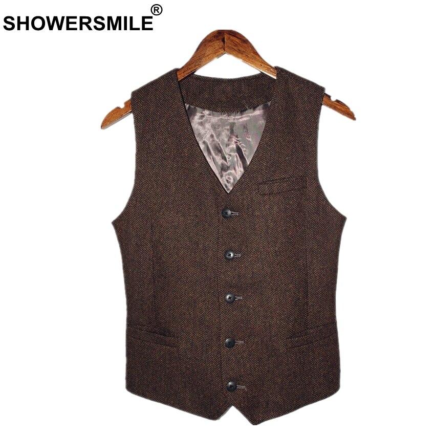 SHOWERSMILE Brown Mens Vest British Vintage Men Herringbone Vest Tweed Jacket Wool Fabric Sleeveless Blazer Brand Clothing