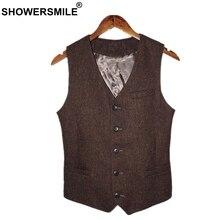 SHOWERSMILE براون رجالي سترة البريطانية خمر الرجال متعرجة سترة تويد سترة الصوف النسيج بلا أكمام السترة ماركة الملابس