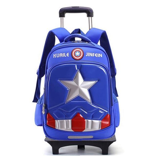 de27ec8fb7 Triple Wheels Children s School Bag Captain America Detachable Backpack  Trolley Kids Backpacks Boys Girls Trolley School Bag