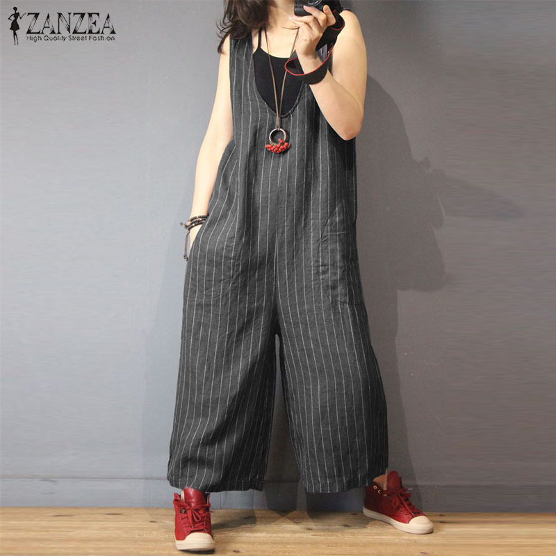 ZANZEA   Jumpsuits   Women 2019 Fashion V Neck Sleeveless Striped Romper Female Casual Wide Leg Overalls Lady Plus Size Work Pants