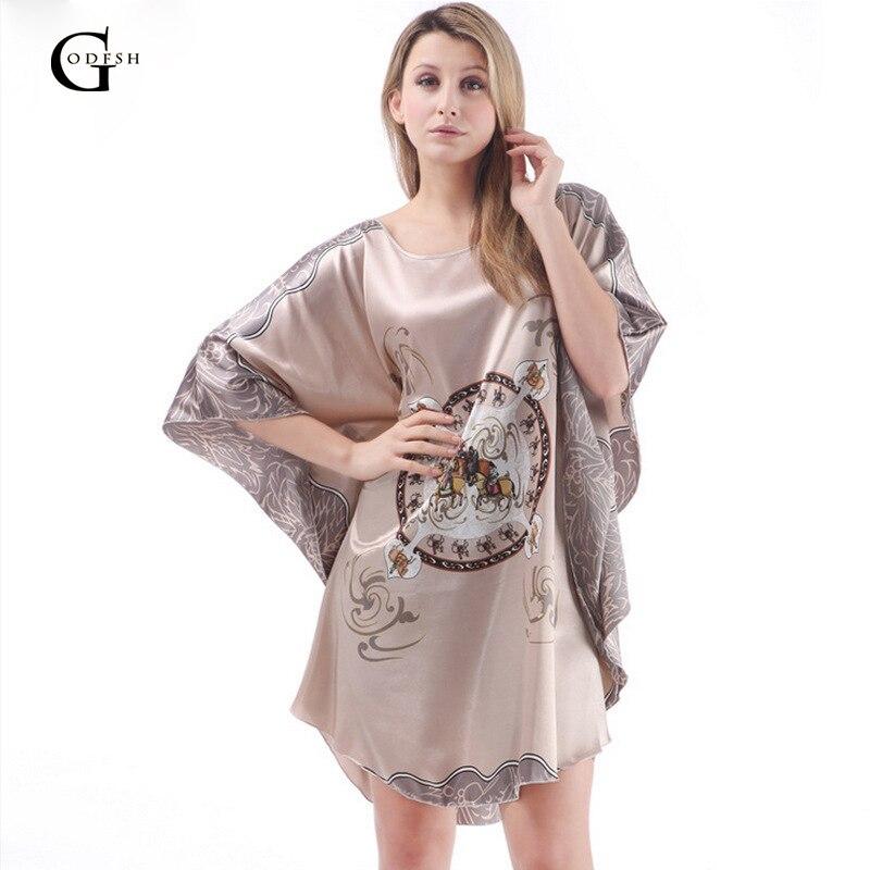 GODFSH Sexy Womens Nightdress Summer Silk Nightgown Dress For Women Short Sleeve Silk Bath Robe Oversize Bathrob RH114
