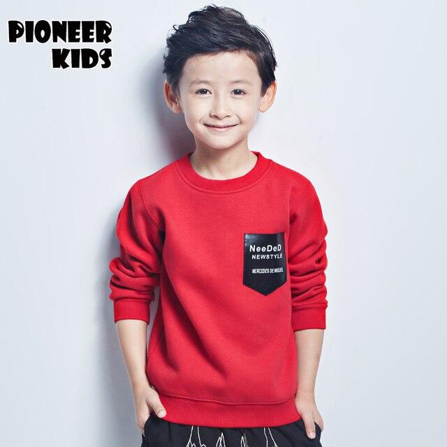 Pioneer Дети 4-16 лет Мальчики толстовки толстые футболка с длинным рукавом хлопок топы дети футболки одежда Зима тис Sweatershirt 6T895