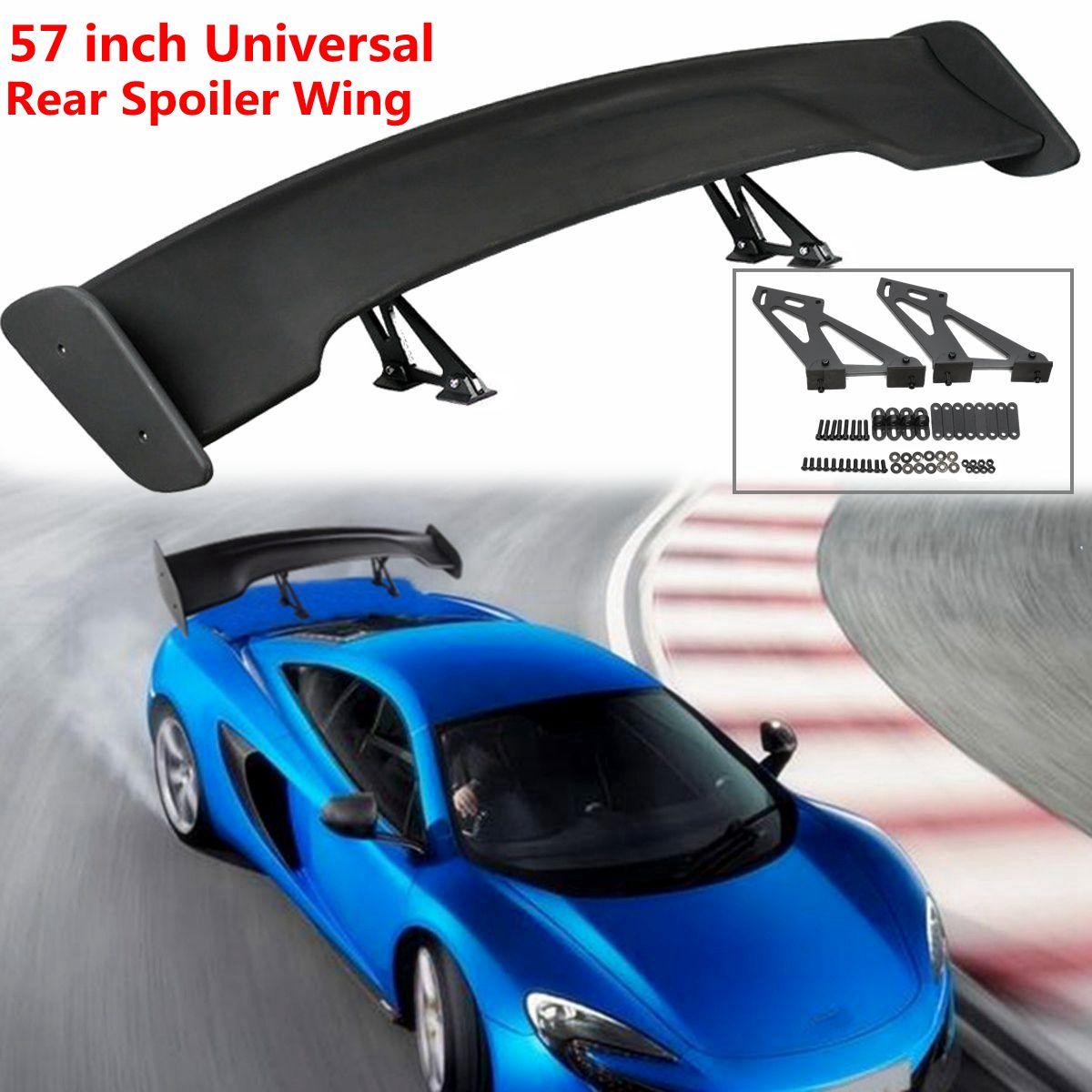 57 Black Universal Dumb Black Adjustable Car Light Weight GT Rear Wing Spoiler Tail Trunk Lid