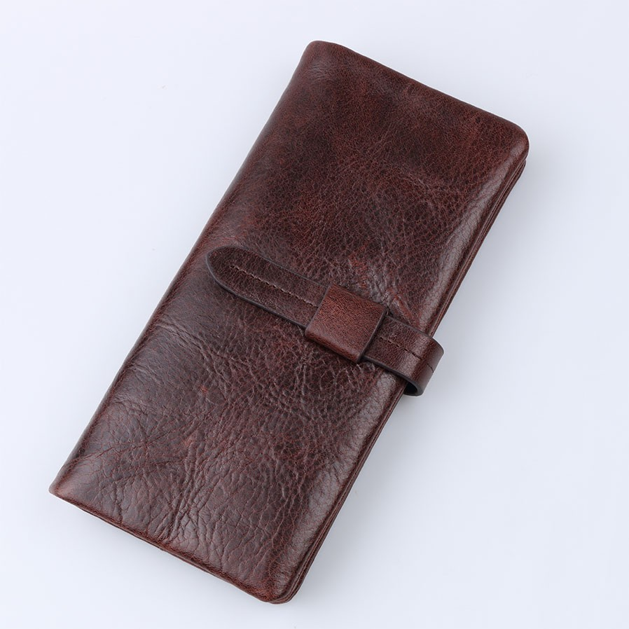 Vintage Fashion Men's Wallet Genuine leather Long Bifold Wallets Money Cash Purse Credit ID Card Holder Wallet Zipper
