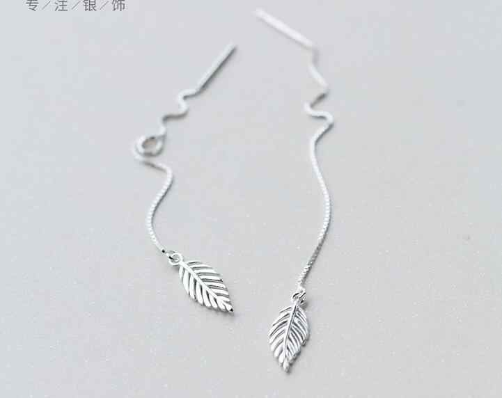 Real. 925 STERLING SILVER Pull Through Leaf Threader Earrings Long Sterling-Silver-Jewelry GTLE1165