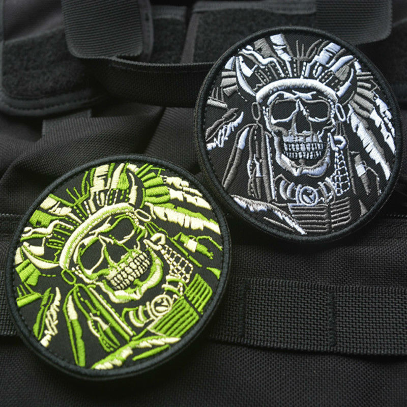 OneTigris Indian Chief Head Death Skull USA Army Morale Military Tactical SWAT Patch