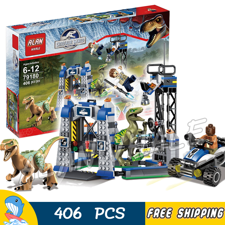 406Pcs Jurassic World Park Raptor Escape High-speed Offroader Charlie Echo Model Building Blocks Toy Bricks Compatible With lego wange 929pcs dinosaur 6 large capsule toy building blocks kit jurassic kids gift toy model building bricks compatible with lego