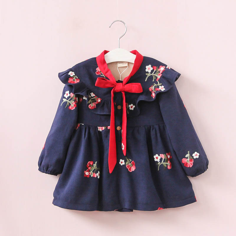 Flower Embroidery Winter Girls Dress Long Sleeve Plus Velvet Cotton Baby Girls Dress Bow Princess Dresses For Girls Clothing girls beauty glamorous bow sequin embroidery bubble long sleeve full clip dress