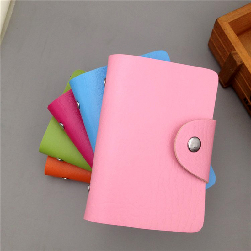Fashion Purse PU Leather 24 Bits Card Case Women Business Bank Card Holder Men Credit Passport Card Bag ID Passport Card Wallet