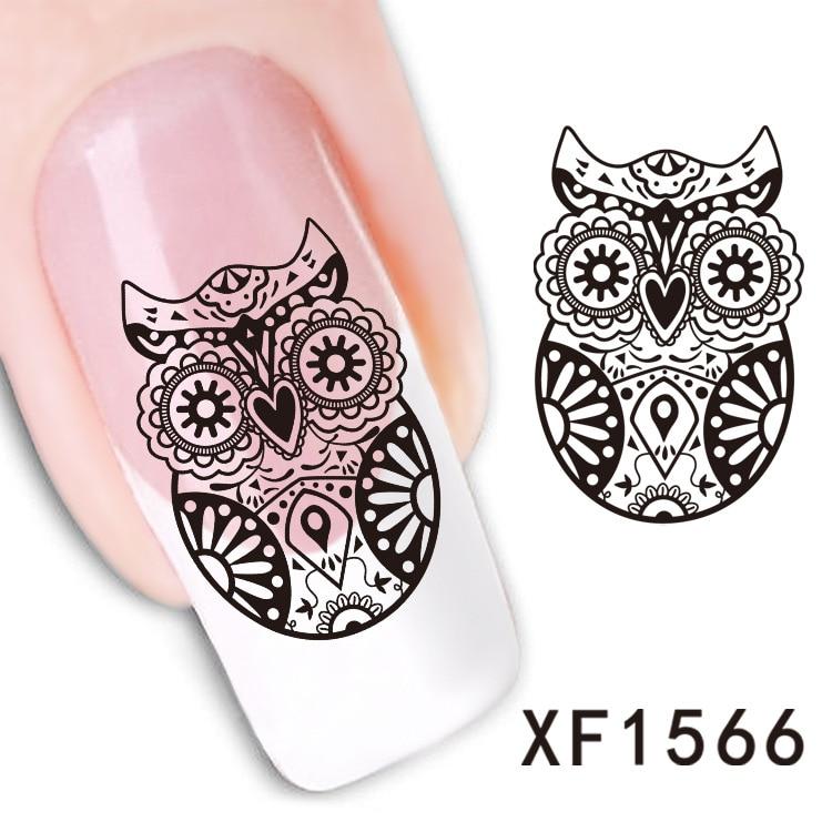 2016 Top Fashion Real Nails 2 Sheet Watermark Nail Stickers Owl Xf1566
