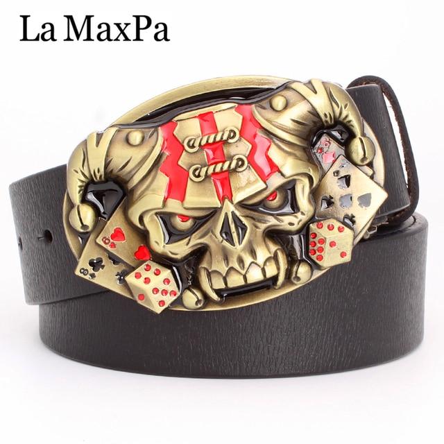 Cool belt for men punk belt golden skull buckle Skull clown pattern cow leather Gambler Skeleton hip hop belt mens gift