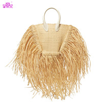 2019 New Women Bags Tassels Natural Straw Paper Single Chain Cross Body Small Packages Vacation Summer Beach Bag Wicker Bag