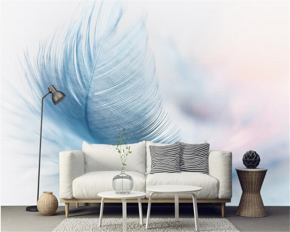 Us 8 85 41 Off Beibehang Custom Fashion Retro Modern Minimalist Aesthetic Blue Feather Wallpaper Tv Background Wall Wallpaper For Walls 3 D In
