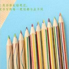 Креативный Радужный карандаш, деревянные разноцветные карандаши, сделай сам, ручки для рисования, фотоальбом, граффити, ручки, цветные Стандартные Карандаши для детей