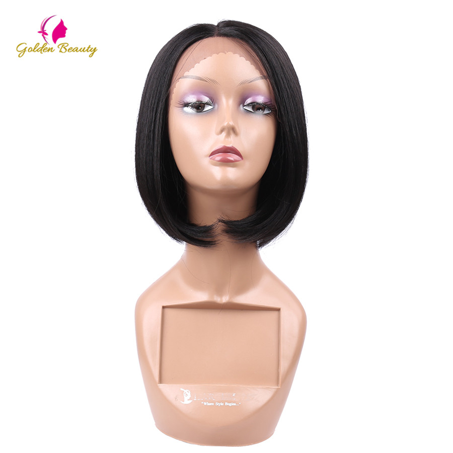 Golden Beauty 8inch Straight Bob Cut Wig Short Synthetic Lace Front Wigs For Women Heat Resistant Hair With Middle Hairline