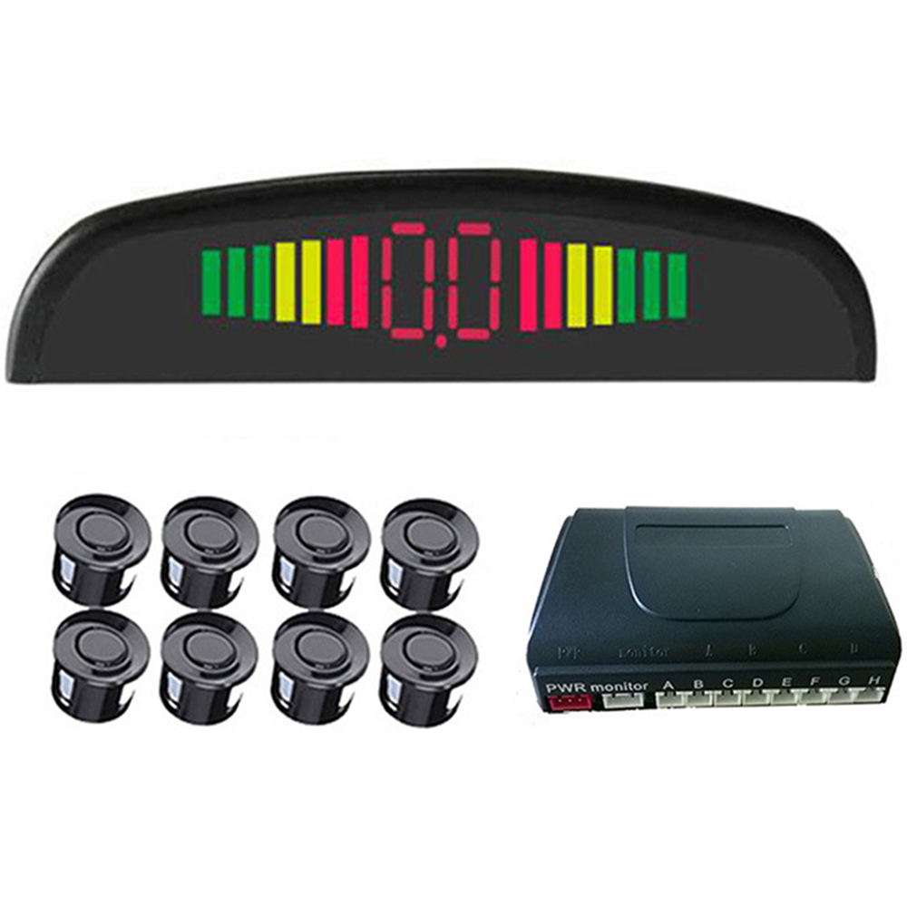 8 Sensores de Estacionamento Display LED Sensor de Estacionamento Invertendo Radar de Backup Traseira Do Carro Da Frente Kit Monitor Do Sistema de Alarme de 12 V Auto Parktronic