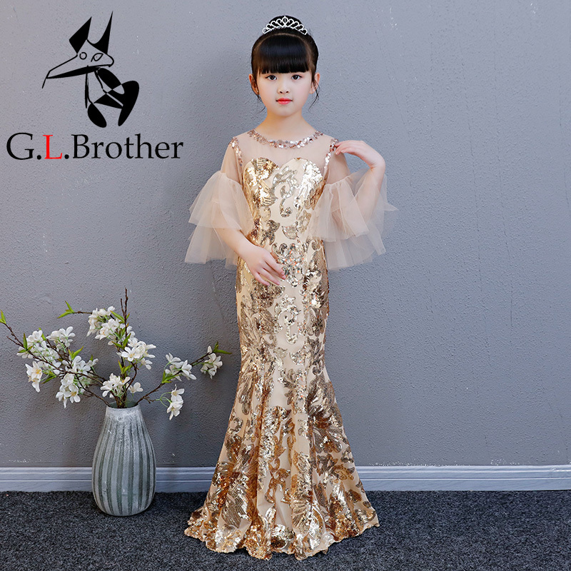 Tailing Flower Girl Dresses Mermaid Wedding Birthday Party Gown For Kids Girl Pageant Dress Sequins Princess Girls Dresses AA255 недорого