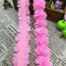 New 26 pcs 8 leaves flowers Chiffon Three-Dimensional Flowers Decoration Handmade DIY Garment Accessories Handcrafted Fabric