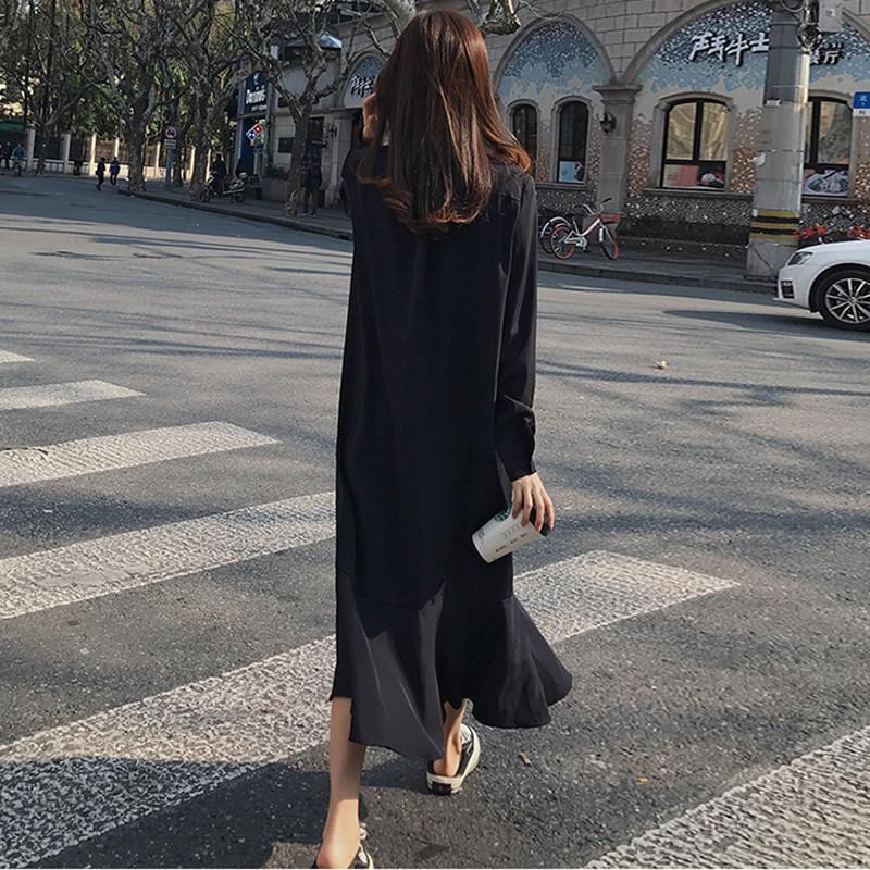 Простое весенне осеннее платье, рубашка с длинным рукавом, однобортное женское платье, женское свободное повседневное однотонное платье с ... - 5