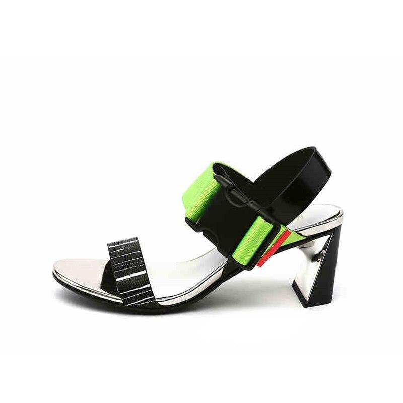 Couleur mélangée gladiateur chaussures femmes sandales été 6 cm chaussures à talons hauts femme Sandalias Mujer HL156 MUYISEXI-in Sandales femme from Chaussures    2