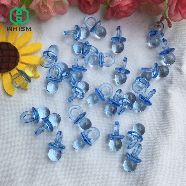 Whism 50pcs Clear Acrylic Mini Pacifiers Baby Shower Favors Diy Boy
