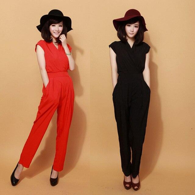 New 2016 Jumpsuit women's overall sexy fashion waist jumpsuit pants overalls 3 colors XXXL plus size