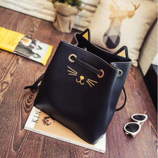 2016 Fashion New WomenPU Leather Handbags Cute Cat Ladies Messenger Bag Crossbody Bag Brand Designer Tote Bag Bolsos Mujer De