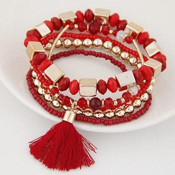 Bracelet perle bohème rouge