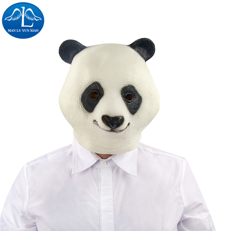 MANLUYUNXIAO Halloween Cosplay Animal Panda Mask Latex Hood Carnival Cosplay For Adult Wholesale