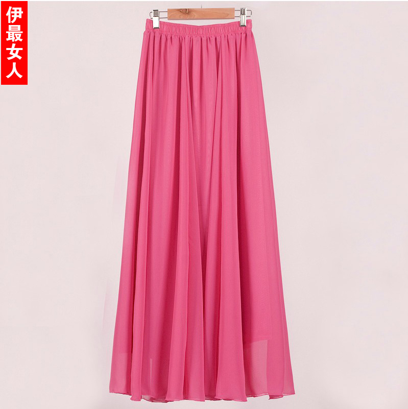 Fairy half length skirt tulle long pleated full chiffon ...