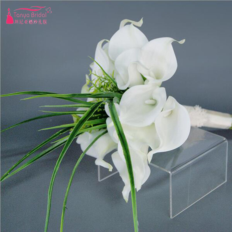 White Madilian Bridal Flower Bouquets Simple Elegant Beach Wedding Hold Flowers Accessoires Zh011 In From Weddings Events On
