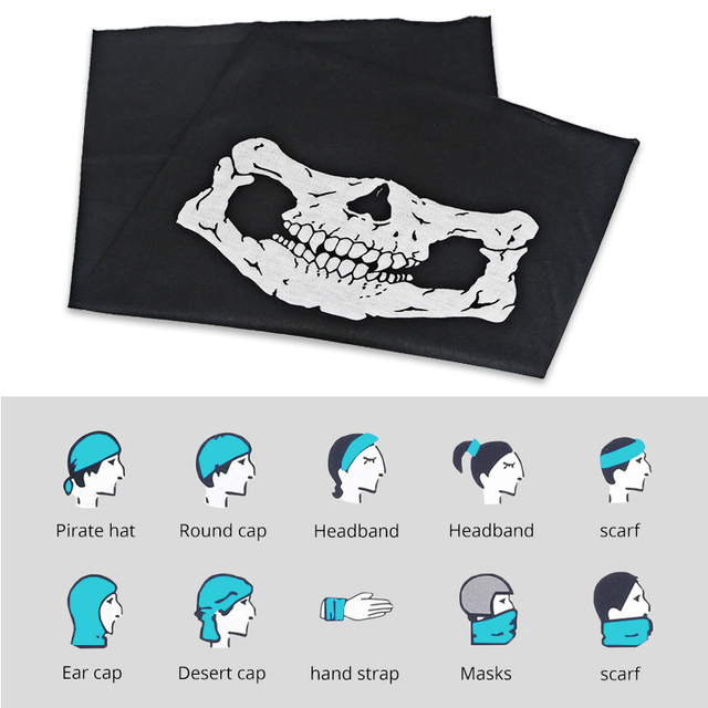 Bicycle Ski Motor Bandana Motorcycle Face Mask Skull For Motorcycle Riding Scarf Women Men Scarves Scary Windproof Face Shield 3