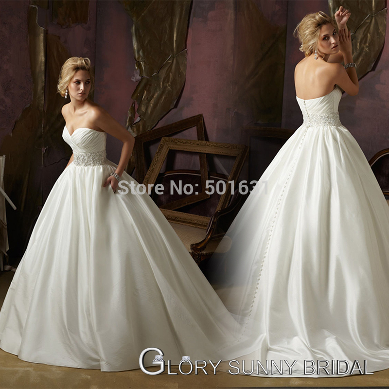 Selling Wedding Gowns: Best Selling Shimmer Taiwan Satin With Crystal Beading