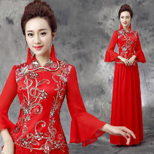 Fashionable Winter Dress New Long Sleeve Red cheongsam dress long qipao  chinese style dress chinese wedding dress vestidos E369 3a1aacb0ac2a