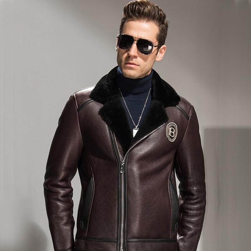 Men's Shearling Jacket Brown Short Leather Coat Flight ...
