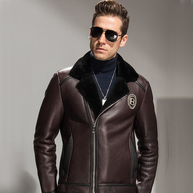 Aliexpress.com : Buy Men's Shearling Jacket Brown Short Leather ...