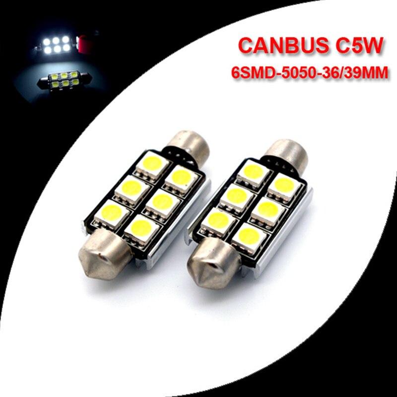 10X White C5W 6418 Error free Canbus 36 39 41mm Festoon Lights 6SMD 5050 LED Car