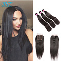Queen Hair Brazilian Straight With Closure Cheap Brazilian Hair 3 Bundles And Closure Brazillian Bundles With Closure Straight