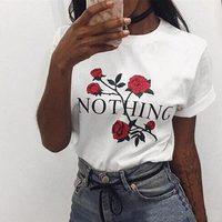 FJUN Nothing Letter Print T Shirt Rose T Shirt Women Vogue Women T Shirt Summer Short