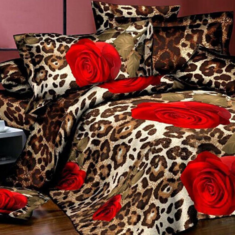 4 cái 3D Floral Chăn Che Đôi Tấm Trải Giường Giường Thiết Lập Màu Đỏ Tăng Bộ Đồ Giường Đặt Hoa Khăn Trải Giường Vua Kích Thước