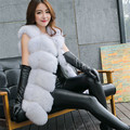2017 зимнее пальто женщин искусственного фокс меховой жилет марка shitsuke femme меховые жилеты мода роскошные пил женская куртка жилет весте