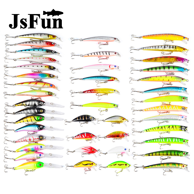 JSFUN 43pcs/lot Fishing Lure Set Minnow / Pencil / Crankbait  Mix Colors Hard Bait Wobbler Carp Fishing Tackle wholesale FU407 night glow in dark fishing lure hard bait minnow pencil tongueless 9g 18g japan ima same design mustad hook