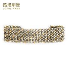 Lotus mann Серебряный Кристалл с двойной цветной тканый 5 золотой и серебряный браслет из бусин